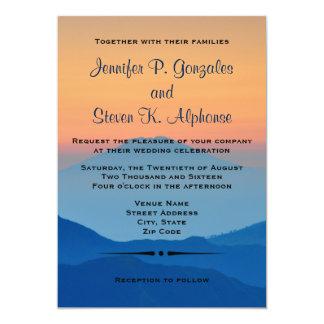 "Sunset Mountain Powder Blue Wedding 5"" X 7"" Invitation Card"
