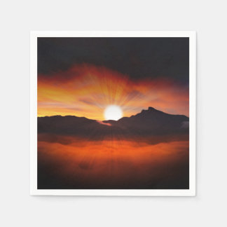 Sunset Mountain Silhouettes Nature Scenery Disposable Napkin