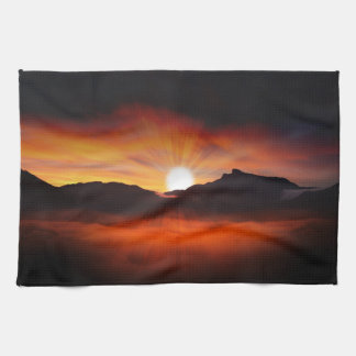 Sunset Mountain Silhouettes Nature Scenery Towel