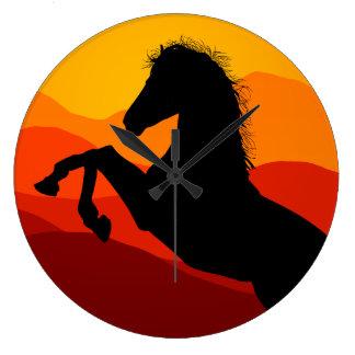 Sunset Mustang Silhouette Clocks