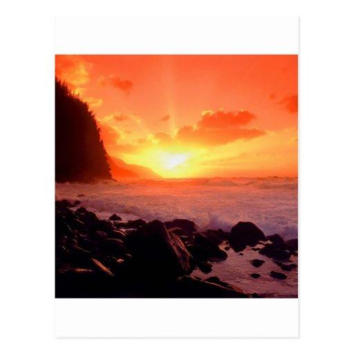 Sunset Napali Kauai Hawaii Postcard