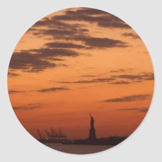 Sunset New York Harbor and Statue of Liberty USA Round Sticker