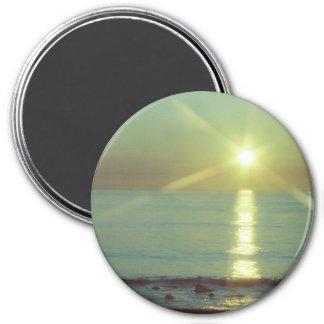 """Sunset Ocean"" 3"" round Magnet"
