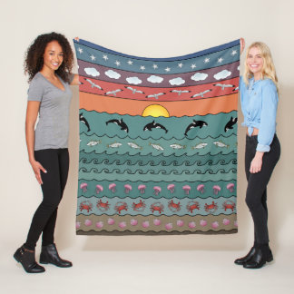 Sunset Ocean Beach Scene with Orca Whales Fleece Blanket