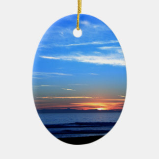 Sunset Ocean Blue Ceramic Ornament