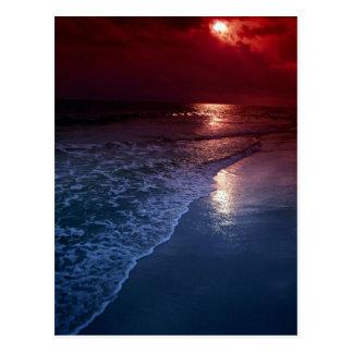 Sunset, ocean, sand, seashore, Florida, U.S.A. Postcard