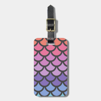 Sunset Ombre Mermaid Scales Luggage Tag