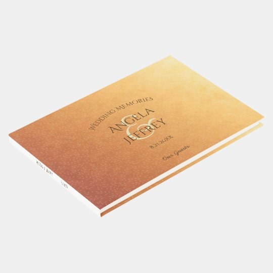 Sunset ombre wedding guests memories guest book