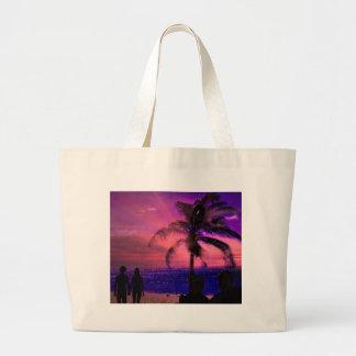 Sunset on a beach, beach bag