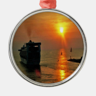 Sunset on  a Cruise Ship Silver-Colored Round Ornament