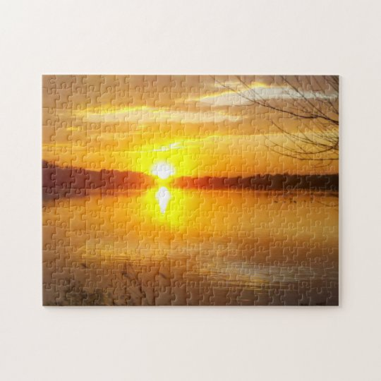 Sunset On A Lake Jigsaw Puzzle