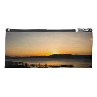 Sunset on a lake with a jetty in the foreground pencil case