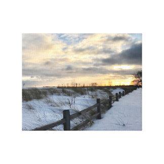 Sunset on a Winter Beach Wall Art