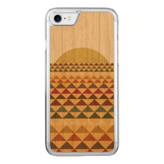 Sunset on Abstract Triangular Sea on Wood Carved iPhone 8/7 Case