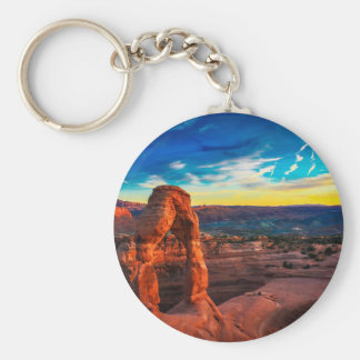 Sunset On Arches Park Keychain