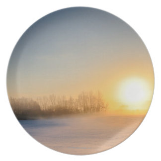 Sunset on Christmas Day in countryside Plate