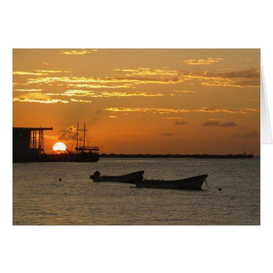 Sunset on Cozumel Waterfron Card