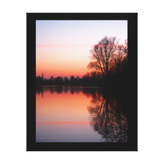 Sunset on Emberton Lake, Emberton Country Park. Canvas Print