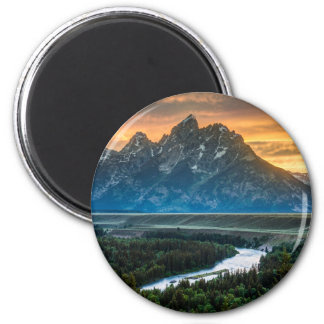 Sunset On Grand Teton And Snake River 2 Inch Round Magnet
