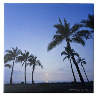 Sunset on Kahaluu Bay in Kona,Hawaii Tile