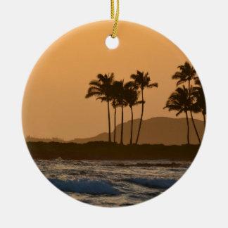 Sunset on Kauai Round Ceramic Ornament