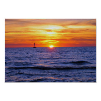 Sunset on Lake Michigan 2 Poster