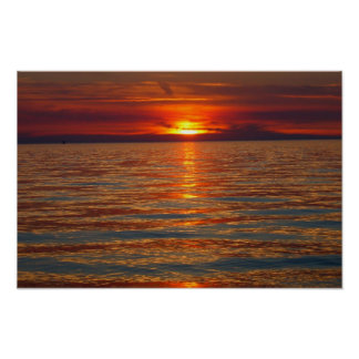 Sunset on Lake Michigan 4 Poster