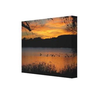 Sunset on Lake Wrapped Canvas Print