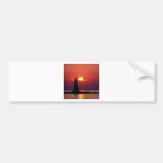 Sunset On Lighthouse Bumper Sticker