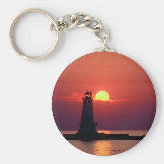 Sunset On Lighthouse Keychain