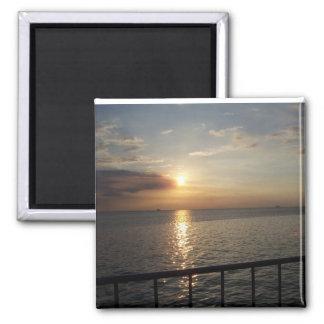 Sunset on Manila Bay Square Magnet