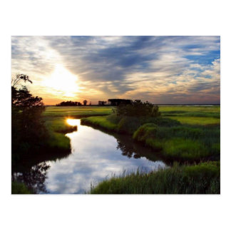 Sunset on Marsh Bombay Hook Deleware Postcard