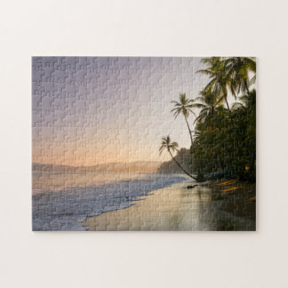 Sunset On Palm Fringed Beach, Costa Rica Jigsaw Puzzle