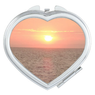 Sunset on Sea Heart Compact Mirror