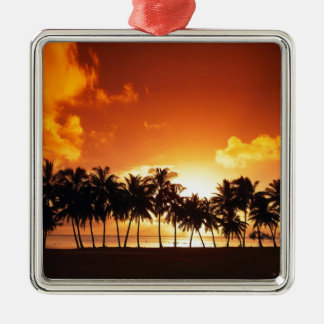 Sunset on the Beach With Coconut Tree Silver-Colored Square Ornament
