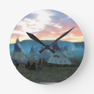 Sunset on the camp round clock