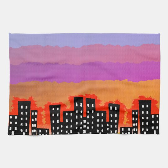 Sunset on the City Hand Towel
