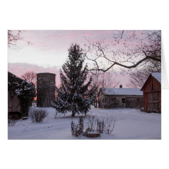Sunset On The Farm Blank Greeting Card