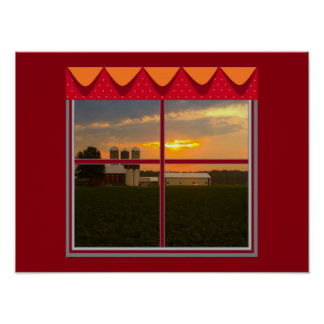 Sunset on the Farm Poster