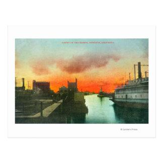 Sunset on the Harbor ViewStockton, CA Postcard