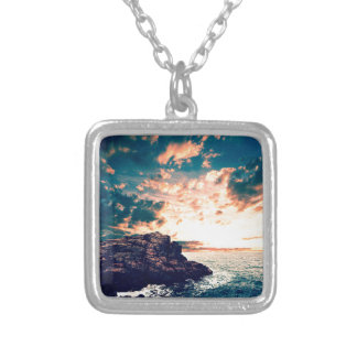Sunset On The Horizon Silver Plated Necklace