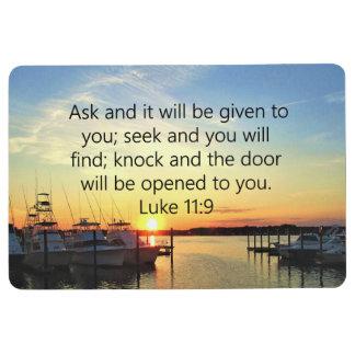 SUNSET ON THE LAKE INSPIRING LUKE 11:9 PHOTO FLOOR MAT