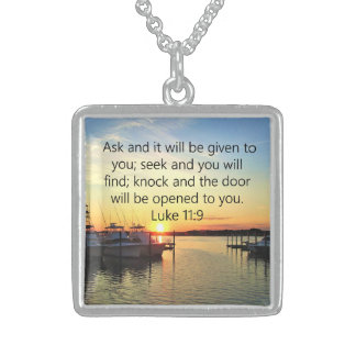SUNSET ON THE LAKE INSPIRING LUKE 11:9 PHOTO STERLING SILVER NECKLACE