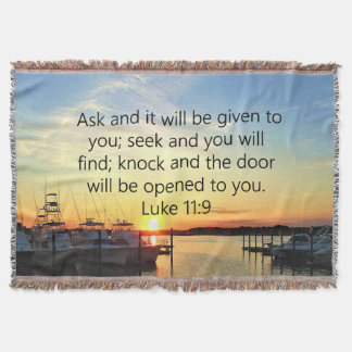 SUNSET ON THE LAKE INSPIRING LUKE 11:9 PHOTO THROW BLANKET