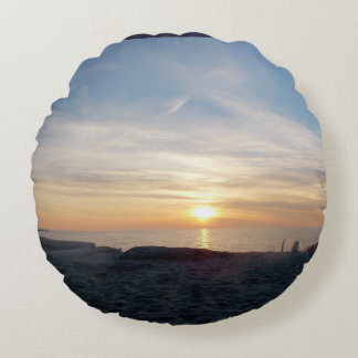 Sunset on the Lake Round Pillow