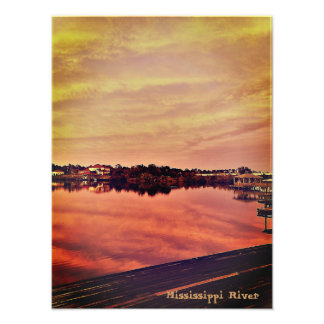 Sunset on the Mississippi River Photo Print