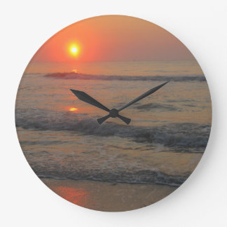 Sunset on the Ocean Large Clock