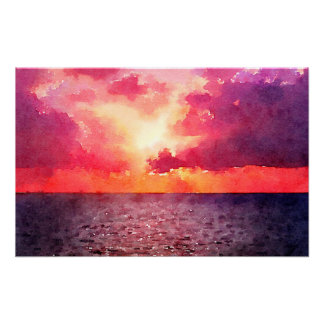 Sunset on the Ocean - Poster