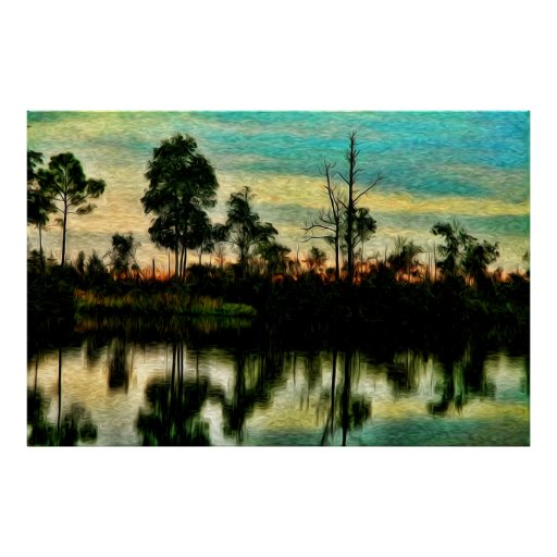 """""""Sunset on the Okefenokee  Swamp"""" Posters"""