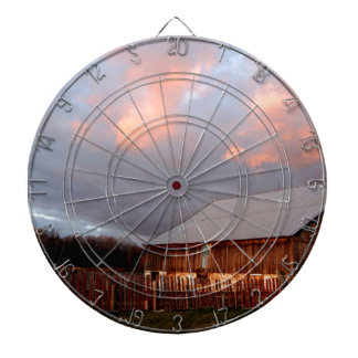 Sunset on the old barn dartboard